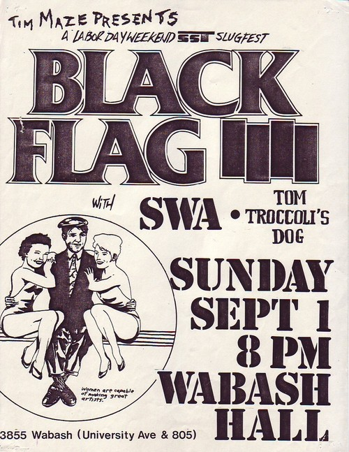 Black Flag/ SWA/ Tom Troccoli's Dog at Wabash Hall